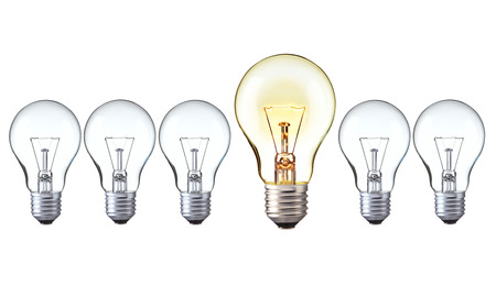 turn off: light bulbs   turn on big light bulbs in front of turn off bulbs in row, Big idea concept, Bright Creative and leadership concept Stock Photo