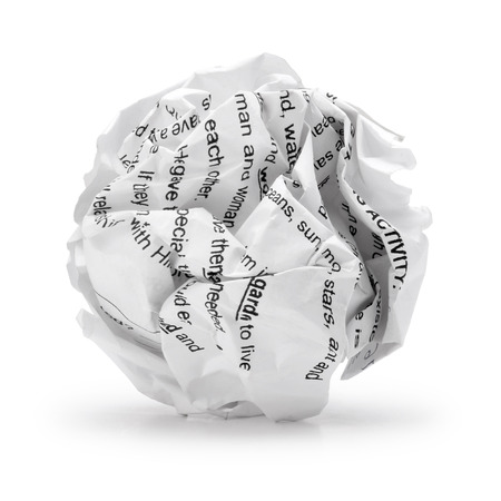 crumpled sheet: Paper ball - Crumpled sheet of print text script writing paper isolated  , A screwed up piece of paper in round shape , Junk paper can be recycle on white background  Stock Photo