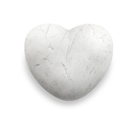 white heart rock, white heart stone, white marble pebble in heart shape, love stone isolate on white background