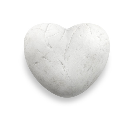white heart rock, white heart stone, white marble pebble in heart shape, love stone isolate on white background photo