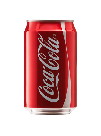 Bangkok, Thailand - JUNE 3, 2014  330 ml  12 ounce Classic Coca-Cola, Coke Bottle Can Isolated On White Background   Coca Cola is the most popular carbonated soft drink beverages sold around the world