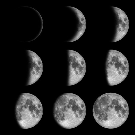 9 phases of the moon, lunar on dark night sky, black space, black from new to full  写真素材