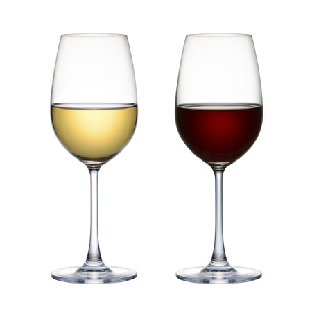 casal: Copo de vinho tinto e vinho branco vidro isolado em um fundo branco Imagens