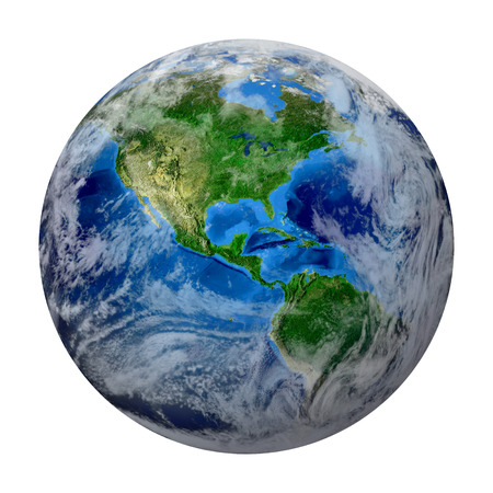 Blue Planet Earth with some clouds isolated in white. North and South America, USA path of global World. Photo realistic 3 D rendering  写真素材