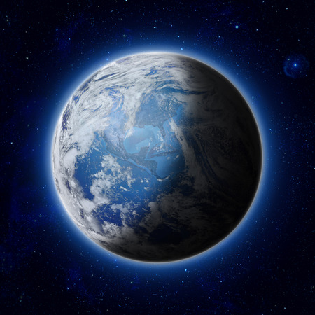 Blue Planet Earth with some clouds and stars in the dark sky. America, USA path of global blue World in space. Elements of this image furnished by NASA