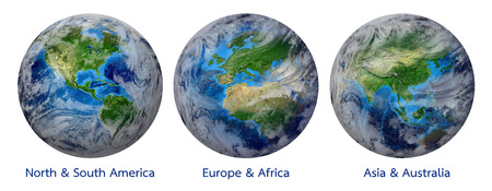 3 d: Blue Planet Earth, Global World with clouds showing America, Europe, Africa, Asia, Australia continent. Elements of this image furnished by NASA - Photo realistic 3 D rendering with clipping path