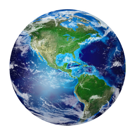 Blue Planet Earth from space showing North & South America, USA. Global World isolated on white background, Photo realistic 3D rendering with clipping path - Elements of this image furnished  写真素材
