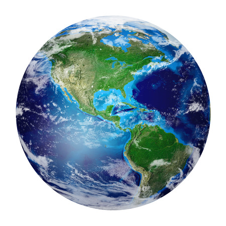 Global World, Blue Planet Earth from space showing North and South America, USA path. Photo realistic 3 D rendering with clipping path. - Elements of this image furnished by NASA 版權商用圖片 - 34767407