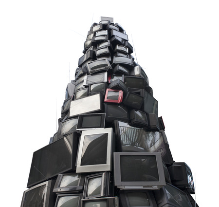 satellite tv: old TV garbage, rubbish, electronic junk, Recycling Electronics, Pile of broken television stacked for disposal. logos, brand names have removed. Great for background, recycle and environmental theme. Stock Photo