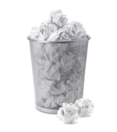 shred: No idea - Crumpled paper can recycle was thrown to metal basket bin. Overflowing waste paper in office garbage bin. Junk, wastepaper in rubbish isolated on white background with clip path