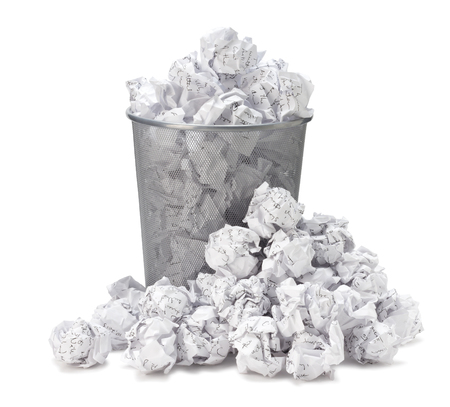 No idea - Crumpled paper can recycle was thrown to metal basket bin. Overflowing waste paper in office garbage bin. Junk, wastepaper in rubbish isolated on white background with clip path Stock Photo - 54309319
