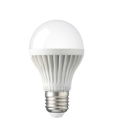 e27: LED, New technology light bulb isolated on white background, Energy super saving electric lamp is good for environment. Realistic photo image with clipping path Stock Photo