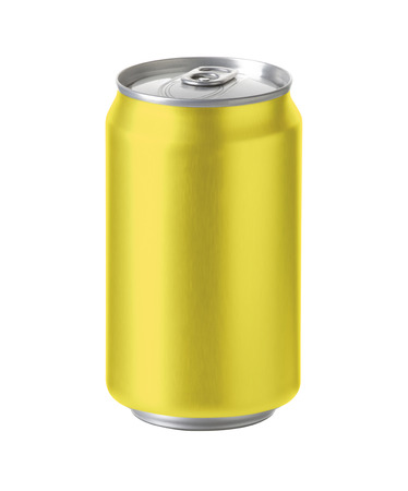 nonalcoholic beer: yellow aluminum can with blank copy space. ideal for beer, lager, alcohol, soft drink, soda, lemonade, cola, energy drink, juice, tea, lemon, pineaple, honey etc. Realistic photo image with clip path Stock Photo