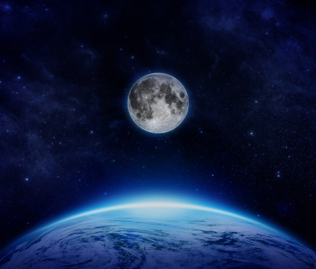 Blue Planet Earth with the moon in sea of stars, moonlight over cloudy ocean of the world and moon from space on dark sky - Elements of this image furnished by NASA stars