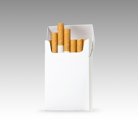cigarette and pack of cigarettes with blank space. the best for package design and advertising - Realistic photo image. Smoking set isolated on white background with clip path. 版權商用圖片