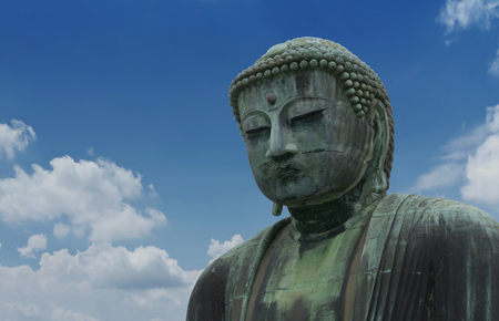 The Great Buddha sculpture is the top landmark of Tokyo, Japan. Kamakura Daibutsu at Kotokuin temple  . The Famous big buddha bronze statue is the popular tourist place in Japan Zdjęcie Seryjne