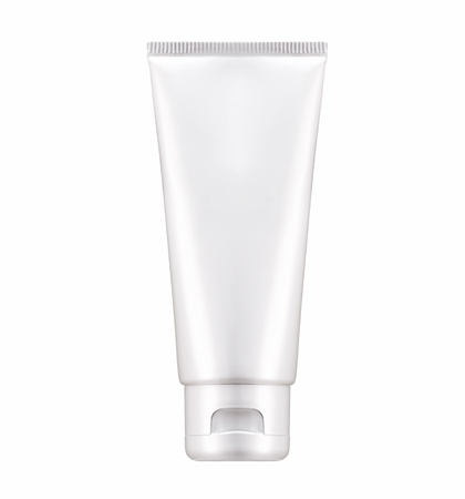aftershave: Blank White cosmetic tube pack Of Cream Or Gel. Ready for your package design. isolated on white background - realistic photo image - with clip path