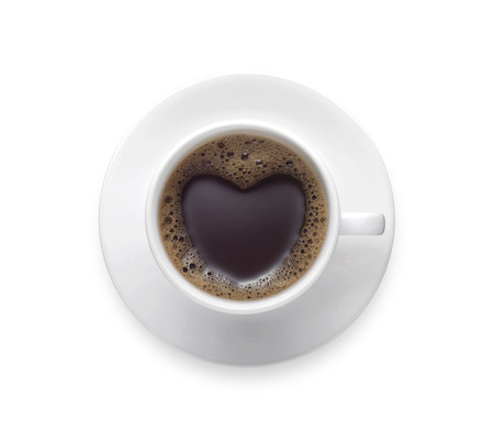 coffee lover - black coffee cup with heart shape isolate on white background. love sign on fresh coffee mug with clip path - Top view 版權商用圖片