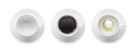 empty coffee cup, black hot coffee cup. 3 style coffee cup isolate on white background with clip path. Top view 版權商用圖片