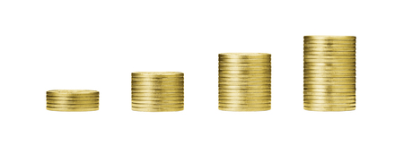 pile of gold coins stack and growing money graph on rows of 5, 10, 15, 20 golden coin isolated on white background with clip path. Income, profits, finance, Investment, Interest and Saving money concept. 版權商用圖片