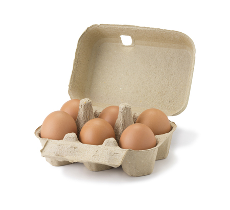 carton box with six Chicken eggs isolated on the white background. six fresh eggs in Cardboard egg box isolated