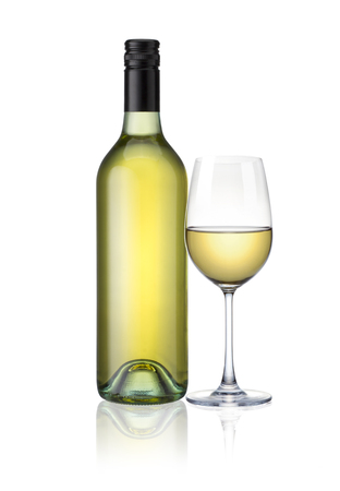 a Glass and a bottle of white wine isolated on white background with clip path