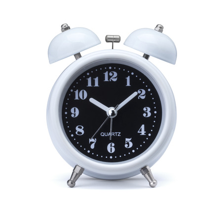 Time concept with Old fashioned alarm clock or watch on white background.