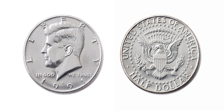 american half dollar coin, 50 c, USA 12 dollar, Fifty cent isolate on white background. John F Kennedy on silver coin realistic photo image Zdjęcie Seryjne