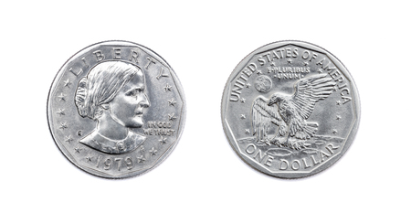 Used USA one dollar coin isolate on white background. 1979 american 1 dollar realistic photo image - both sides 版權商用圖片