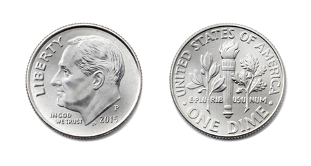 american One dime, USA ten cent, 10 c coin isolate on white background. President Franklin D. Roosevelt on silver dollar coin realistic photo image - both sides Zdjęcie Seryjne