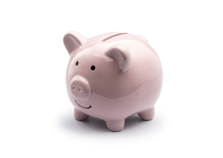 pink piggy bank for save coin on white background. pig doll for saving money isolate.