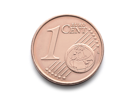 One cent euro coin. 1 cent euro coin isolate on white background. Currency of the European Union realistic photo image with clip path
