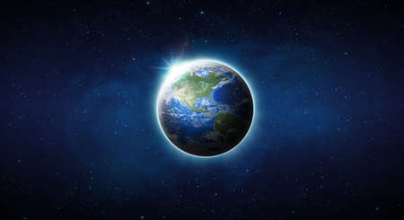 Earth on space. Blue Planet Earth view from outer space show North & South America, USA. World Global in Universe, Star field, Galaxy, Nebula. Earth 3D render