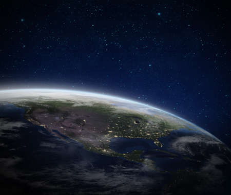 Earth on space. Blue Planet Earth view from outer space show North & South America, USA. World Global in Universe, Star field with text space. Earth 3D render Foto de archivo