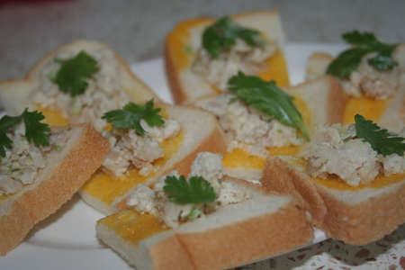 Toast with ground pork Stock Photo