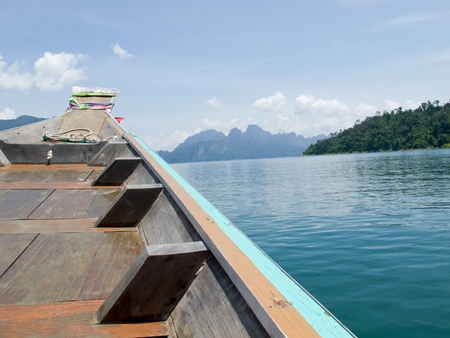 Cloud, Sky, Mountain, Boat and Ratchapapa Dam, Thailand Stock Photo