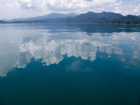 Cloud, Sky, Mountain and Ratchapapa Dam, Thailand Stock Photo