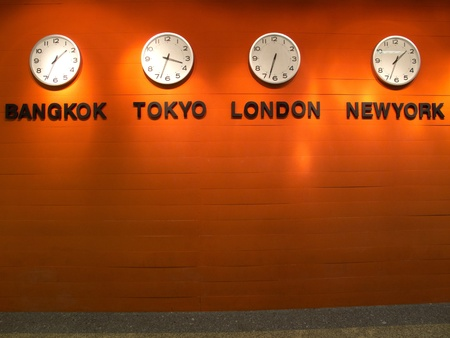 Time zone clock on the wall.
