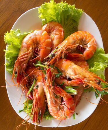 A seafood dish of shrims that is so yummy.