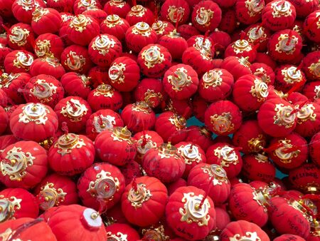 luckiness: Many small red lamp for luckiness in temple. Stock Photo