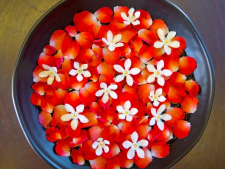 A bowl of beautiful flowers in a spa
