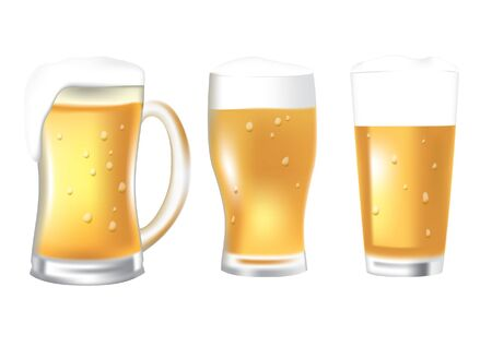 Three glasses of beer Stock Vector - 17289791