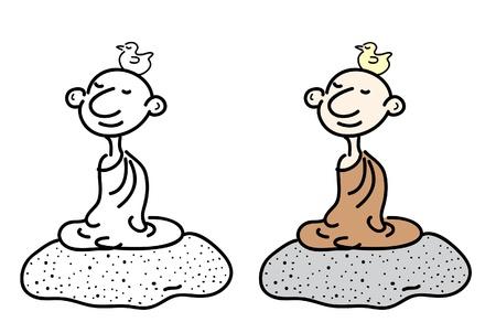 Cartoon of meditation monk Stock Vector - 19605016