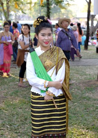 Bangkok, Thailand - January 17, 2015 Unidentified  Thai woman in traditional custom at Lumpini Park, when the day of Thailands travel festival.