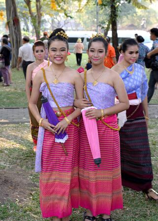 traditional custom: Bangkok, Thailand - January 17, 2015 Unidentified  Thai women in traditional custom at Lumpini Park, when the day of Thailands travel festival. Editorial