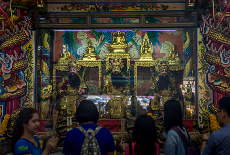 teck: Bangkok, Thailand - Feb 14, 2015 Unidentified people come to pray at The joss house of  Poh Teck Tung Foundation. The holy Chinese gods here is well- known for Thai and Chinese people.