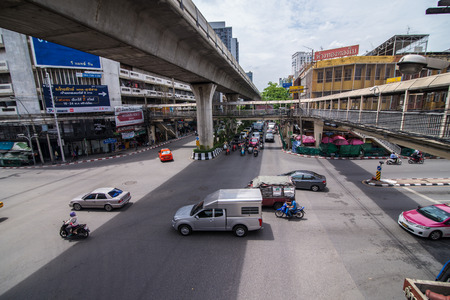 Bangkok, Thailand - June 8, 2015 Saphan Khwai intersection , an old downtown near Jatujak market. Stock fotó