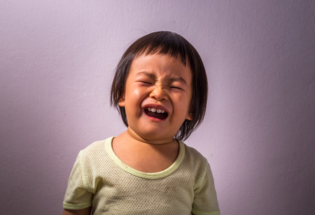 asian toddler: Portrait of an upset Asian toddler girl