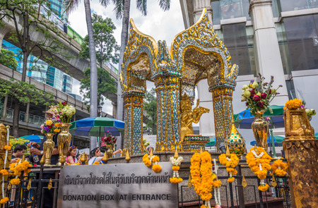 respected: Bangkok, Thailand - June 19, 2015 Lord Brahma Shrine is the Ashram located in front of the Grand Hyatt Erawan hotel is sacred, that is respected by the people of Thailand. and abroad