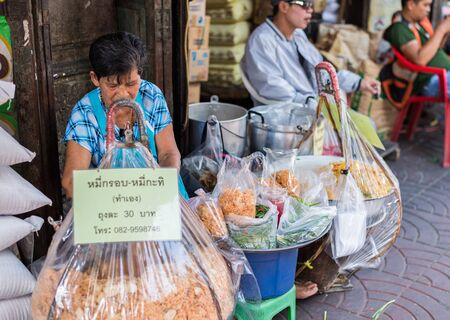 Bangkok, Thailand - July 15, 2015 Unidentified street-food-seller in area of Yaowarat or Thailands China Town